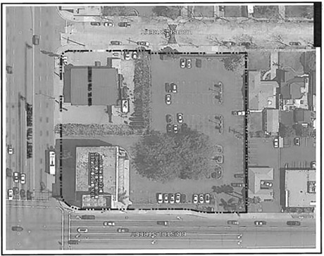17th St. & Bristol parking lot Aerial view