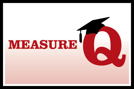 Measure Q text with a graduation cap