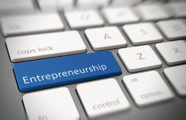 Entrepreneurship label on keyboard