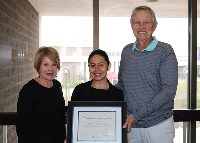 Donors Al and Carol Preusch with SAC student Abi Mendez Ortiz