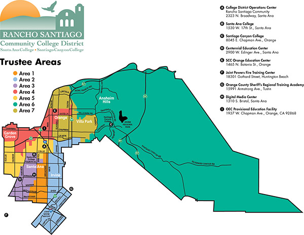 RSCCD Board of Trustees Areas map