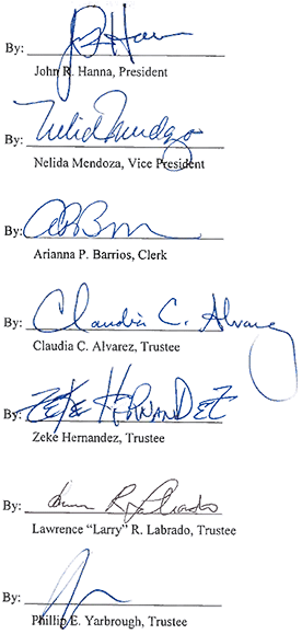 board of trustees signatures