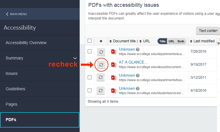 PDF Accessibility Report in Siteimprove